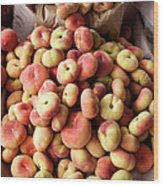 Box Of Donut Peaches At A Farmers Market Wood Print
