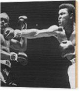 Boxer Cassius Clay Punching Doug Jones Wood Print