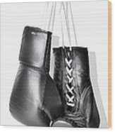Boxing Gloves Hanging Against White Wood Print