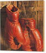 Boxing Gloves Hanging On Rustic Wooden Wood Print