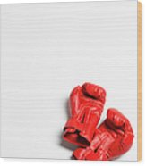 Boxing Gloves On White Background Wood Print