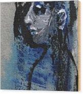 Boy In Blue Wood Print