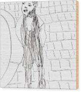 Boy On The Street Pencil Drawing Wood Print