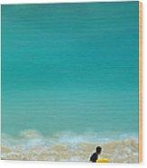Boy With Yellow Surfboard At Waikiki Wood Print