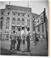 Boys Staring At Yankee Stadium Wood Print