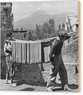 Boys Working In Pasta Factory Carry Wood Print