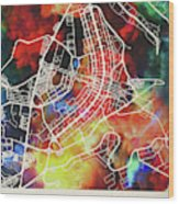 Brasilia Brazil Watercolor City Street Map Wood Print