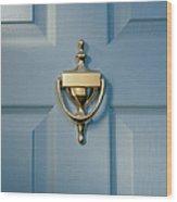 Brass Door Knocker On Front Door Wood Print