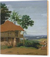 Brazilian Landscape With A Worker   S House  Wood Print