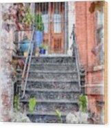 Brick Townhouse Walkup Watercolor Wood Print