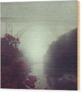 Bridge And River In Fog Wood Print