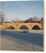 bridge over river Tyne in Haddington in winter Wood Print