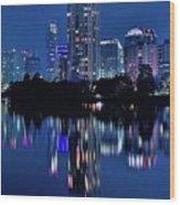 Bright Blue Hour In Austin Wood Print