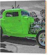 Bright Green Ford Wood Print