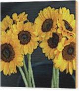 Bright Yellow Sunflowers Wood Print