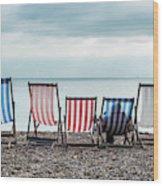 Brighton Beach Chairs Wood Print