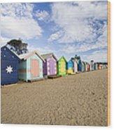 Brighton Beach Huts Wood Print