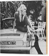Brigitte Bardot With Dachshund Wood Print