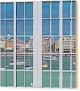 Brilliant Bermuda Cityscape Windows Wood Print