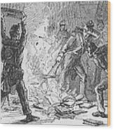 British Soldiers Burning Books In Wood Print