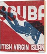 British Virgin Islands Scuba Diver - Blue Retro Wood Print
