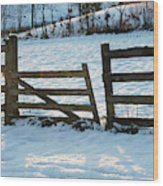 Broken Fence In The Snow At Sunset Wood Print