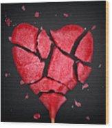 Broken Red Heart Shaped Lollipop Wood Print
