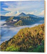 Bromo Volcano At Sunrise,tengger Semeru Wood Print