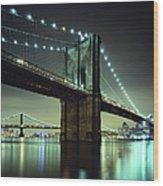 Brooklyn Bridge At Night, New York City Wood Print
