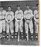 Brooklyn Dodgers Outfielders L. To R Wood Print