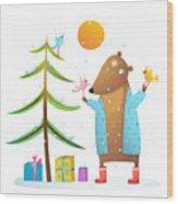 Brown Bear Wearing Warm Winter Coat Wood Print