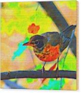 Brushed Robin Wood Print