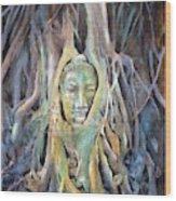 Buddha Head In Tree Roots Wood Print