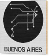 Buenos Aires Black Subway Map Wood Print