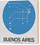 Buenos Aires Blue Subway Map Wood Print