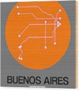 Buenos Aires Orange Subway Map Wood Print