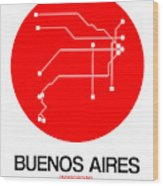 Buenos Aires Red Subway Map Wood Print