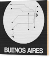 Buenos Aires White Subway Map Wood Print