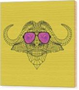 Buffalo In Pink Glasses Wood Print