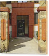 Building Entrance In Brooklyn, New York Wood Print