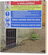 Building Site Sign Wood Print