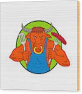 Bull Holding Barbecue Sausage Drawing Color Wood Print