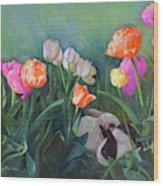 Bunnies In The Blooms Wood Print