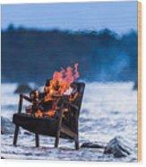 Burning Old Armchair On The Seashore Wood Print