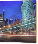Bus Trails At Blue Hour Wood Print
