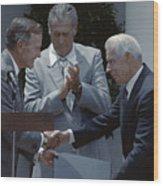 Bush Shakes Dimaggios Handted Williams Wood Print