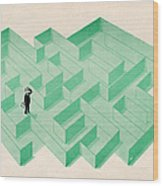 Businessman Trapped In Maze Wood Print