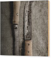 Butcher Knives Wood Print