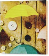 Button Storm Wood Print