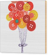 Buttons As Balloons Wood Print